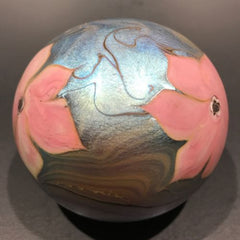 Signed Vandermark Art Glass Paperweight Pink Iridescent Flowers on Blue