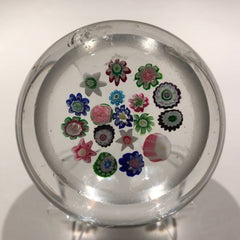 Antique Clichy Art Glass Paperweight  Concentric Complex Canes w/ Two Roses