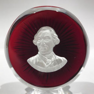 Baccarat Franklin Mint Art Glass Sulphide Paperweight King Louis XVI