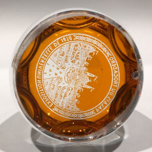 Antique Baccarat Art Glass Paperweight Engraved Amber Flash 1878 World Fair