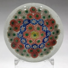 Early Chinese Art Glass Paperweight Patterned Complex Millefiori Star of David