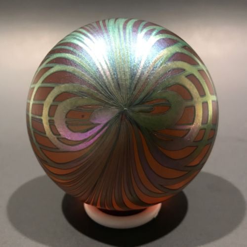 Signed David Lotton Art Glass Paperweight Iridescent Pulled Feather Design