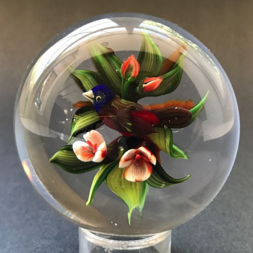 signed rick ayotte lampwork art glass paperweight bird with flowers