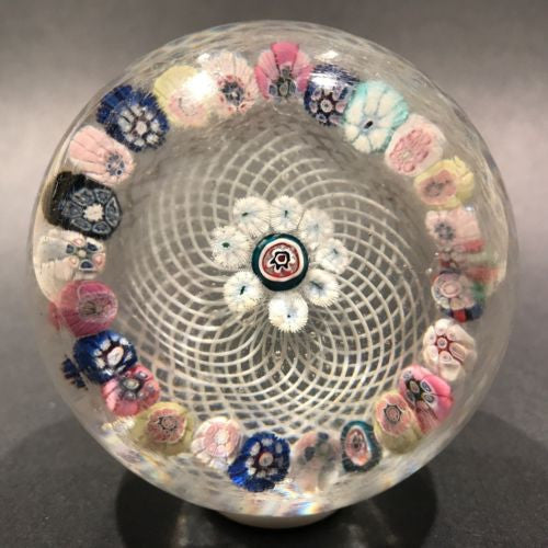 Antique New England Glass Co. NEGC Paperweight Complex Millefiori On Basket