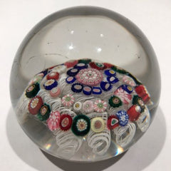 Antique French Art Glass Paperweight Concentric Complex Millefiori on Latticino