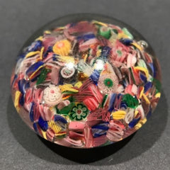 Early Chinese Art Glass Paperweight Complex Millefiori Scramble