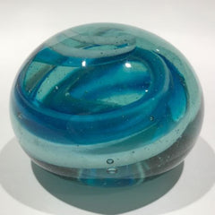 Vintage Art Glass Paperweight Blue and White Dump Glass Modern Swirl Design