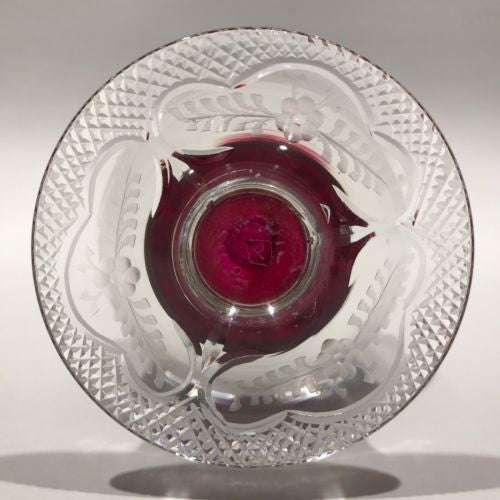 Rare Vintage Pairpoint Art Glass Pedestal Paperweight Millefiori with Rose canes