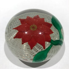 Early Chinese Art Glass Paperweight Lampworked Flower on Lattice Basket