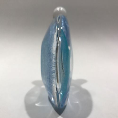 Signed Michael Nourot Art Glass Paperweight Perfume Bottle Modern Blue Design