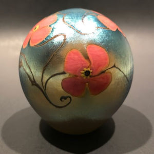 Vintage Vandermark Art Glass Paperweight Iridescent Surface Decorated Flowers