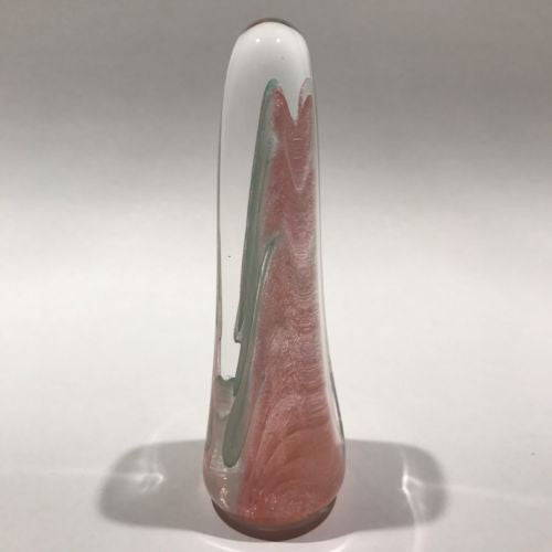 Signed Michael Nourot Art Glass Paperweight Large Upright Pink & Blue Veil