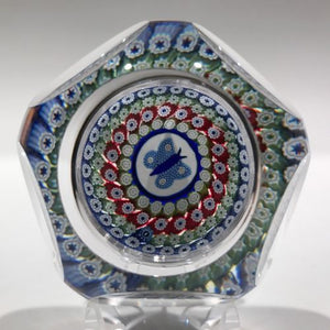 1976 Whitefriars Art Glass Paperweight Concentric Millefiori Butterfly Murrina