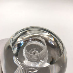 Signed Steuben Art Glass Paperweight Spiral Latticino Air Twist Upright Egg