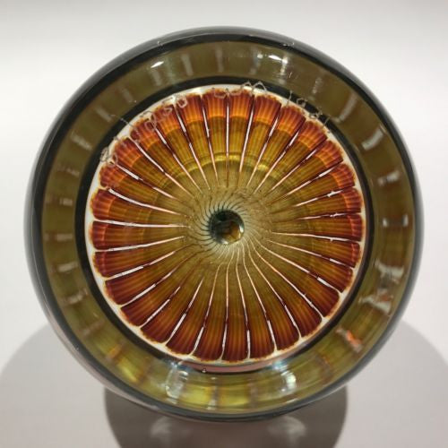 Vintage William Manson Art Glass Paperweight Millefiori Butterfly Stave Basket