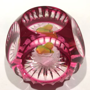 Vintage Murano Art Glass Paperweight Double Pear Faceted Ruby Flash Overlay