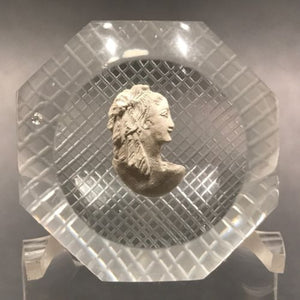 Vintage Pairpoint Art Glass Paperweight  Faceted Sulphide Bust of a Woman