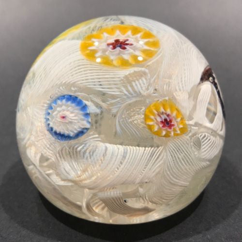 Vintage Murano Fratelli Toso Art Glass Paperweight Millefiori on Lace Ground