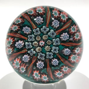 Vintage Perthshire Art Glass Paperweight 9 Panel Ribbon Twists & Millefiori PP2