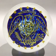 "Signed John Gentile Art Glass Frit Paperweight Bald Eagle U.S. ""Coat of Arms"""