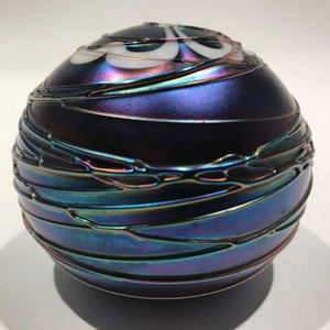 Terry Crider Art Glass Paperweight Iridescent Surface Decorated Threading