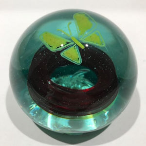 Vintage Pilkington St Helens Glassworks Art Glass Paperweight Yellow Butterfly
