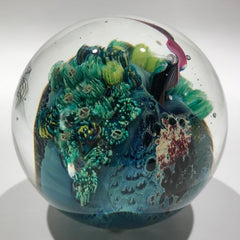 Signed Josh Simpson Art Glass Paperweight Complex Inhabited Millefiori Planet