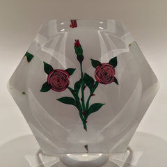 Vintage Saint Louis Art Glass Paperweight Clichy-type Roses on White Ground
