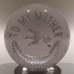 "Antique Millville Art Glass Frit Paperweight ""To My Mother"" Messenger Pigeon"