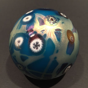 Signed Carl Radke Phoenix Studio Art Glass Paperweight Iridescent Millefiori