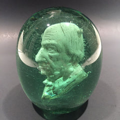 Large Antique English Dump Glass Sulphide Paperweight Disaeli or Gladstone Bust