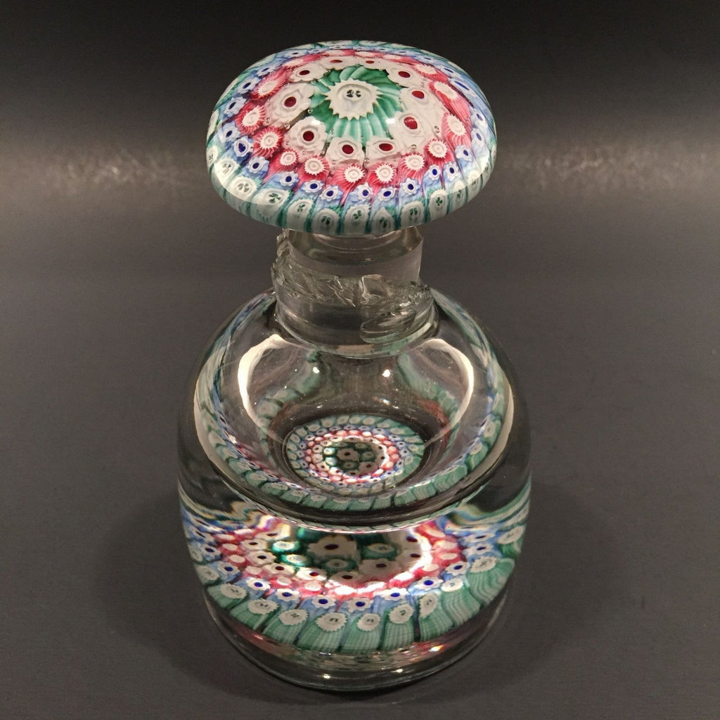 Old English Richardson Art Glass Paperweight Bottle Concentric Millefiori Damage