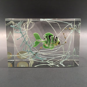 Rare Czech Astera Art Glass Paperweight Lampworked Fish Aquarium Sculpture