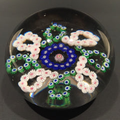 Large Antique Baccarat Art Glass Paperweight Complex Millefiori Garland