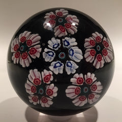 Large Vintage Murano Art Glass Paperweight Millefiori on Black with Pink Torsade