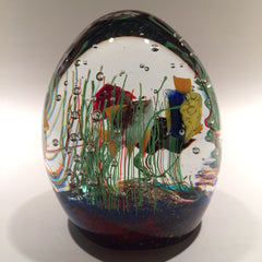 Huge Vintage Murano Art Glass Paperweight Tropical Fish Aquarium Sculpture