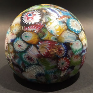 Vintage Murano Art Glass Paperweight Millefiori Scramble Satin Finish