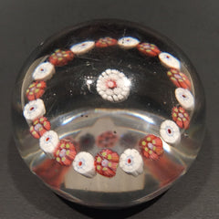 Antique New England Glass Co. NEGC Art Glass Paperweight Single Row Concentric
