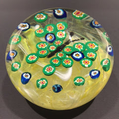Rare Vintage Gentile Art Glass Paperweight Millefiori Green Butterfly on Yellow