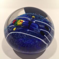 Unusual Murano or Chinese Art Glass Paperweight Lampworked Jester