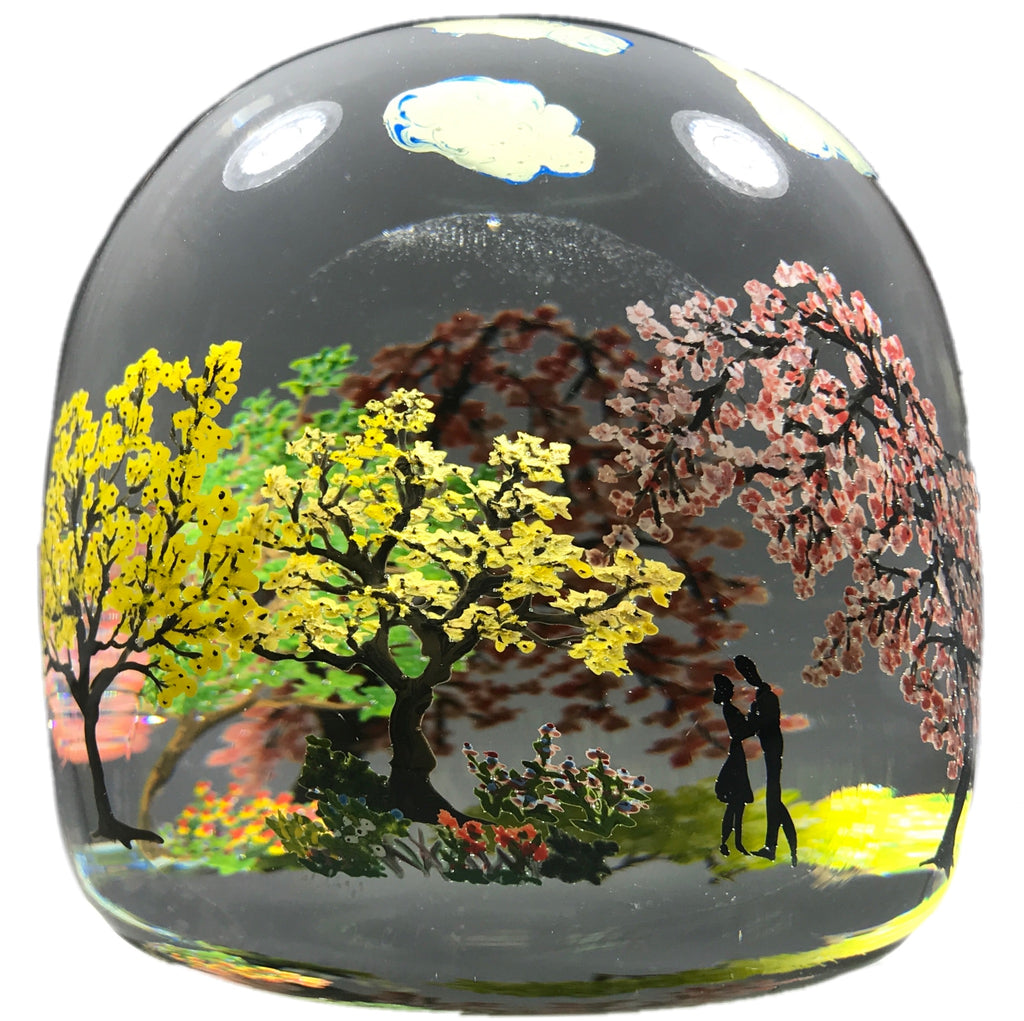 Contemporary Alison Ruzsa Art Glass Paperweight Encapsulated Hand Painted Central Park Scene