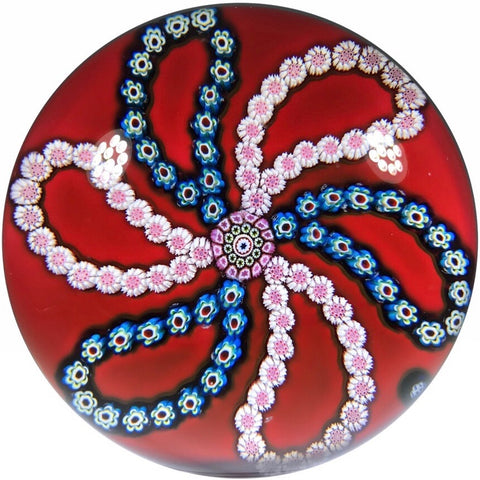 Vintage Saint-Louis Art Glass Paperweight Patterned Complex Millefiori on Red Ground