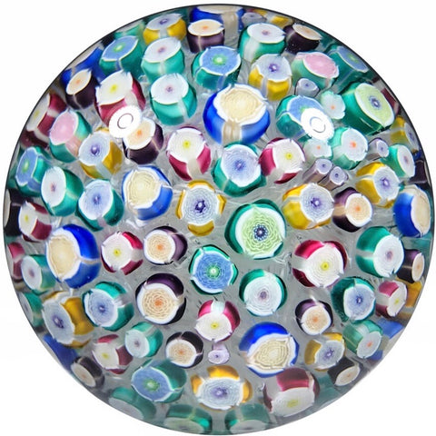 John Deacons 2018 Art Glass Paperweight Medium Closepack Rose Millefiori