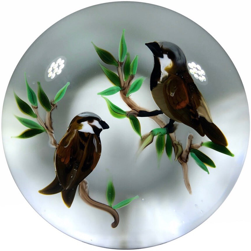 Limited Edition Rick Ayotte Art Glass Paperweight Lampwork House Sparrows
