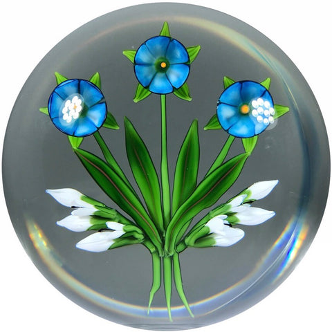 Signed Chris Buzzini Art Glass Paperweight Lampwork Flower Bouquet