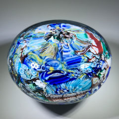 Vintage Murano Art Glass Paperweight Millefiori End-of-Day Scramble