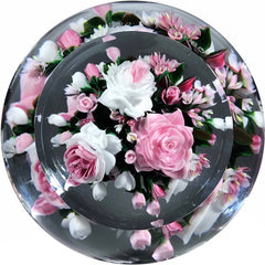 Super Magnum Rick Ayotte Double Sided Art Glass Paperweight lampwork Rose Bouquet