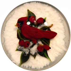 Signed Rick Ayotte Art Glass Paperweight Lampwork Cardinal w/ Red Berries & White Snow
