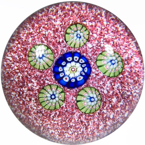 Antique Saint Louis Miniature Art Glass Paperweight Spaced Millefiori Red Jasper Ground