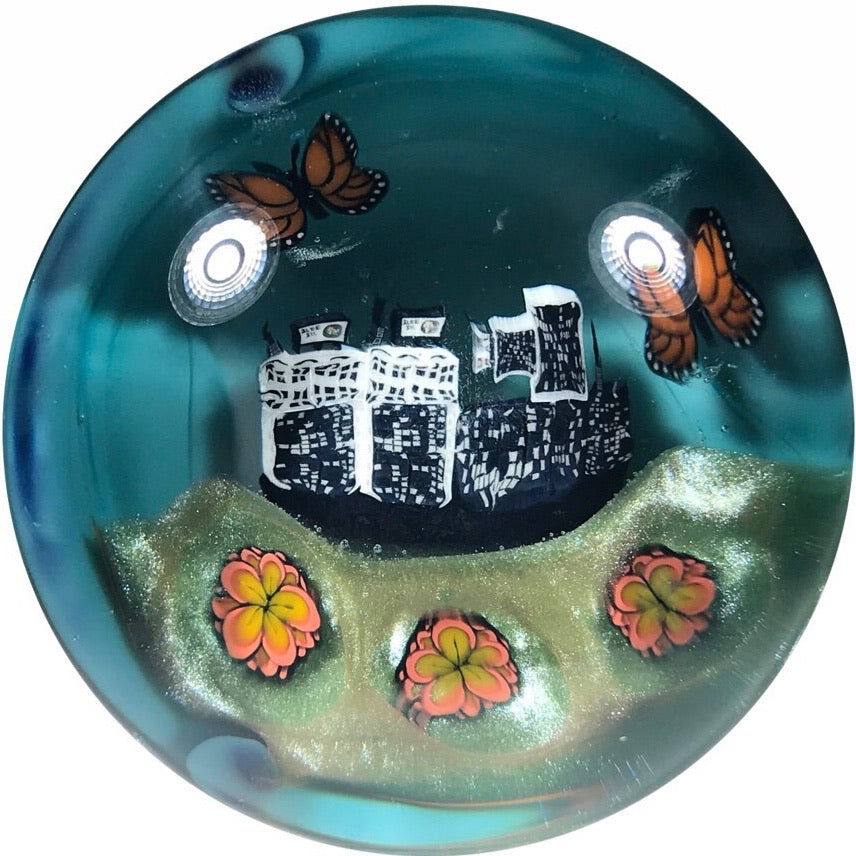 "Malachi Wilkinson & ""Piper"" Dan Benway Colab Art Glass Paperweight with Murrine Skyline, Flowers, & Butterfly"